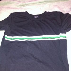 Navy Blue Shirt White And Green Stripes